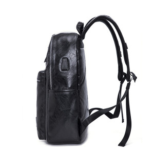 Wholesale new design mens laptop leather PU backpack with USB charging port bag waterproof backpack