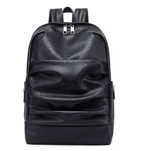 Custom waterproof laptop men women black pu leather backpack black bags