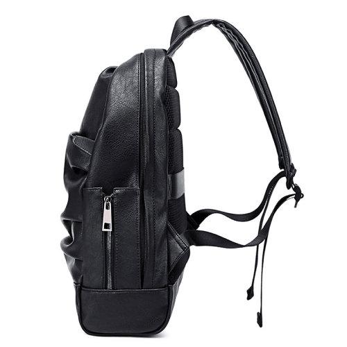 Custom waterproof laptop men women black pu leather backpack black bags