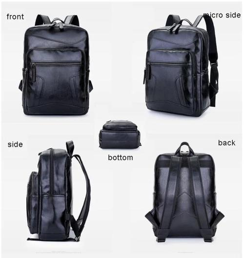 Custom Waterproof Large Capacity Men Student PU Leather Backpack