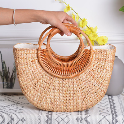 Autumn Winter straw bag women wood handle  leisure bags