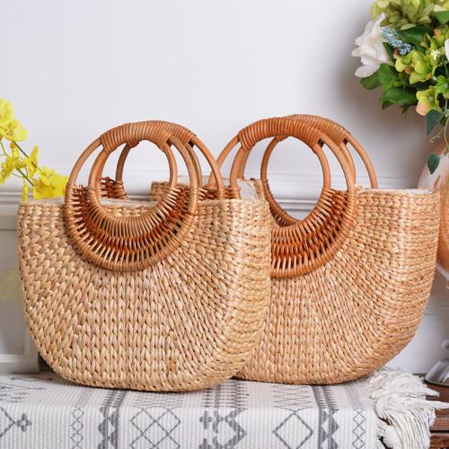 Autumn Winter straw bag women wood handle  leisure bags