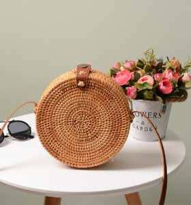 Summer beach rattan bag strap round sling rattan bag