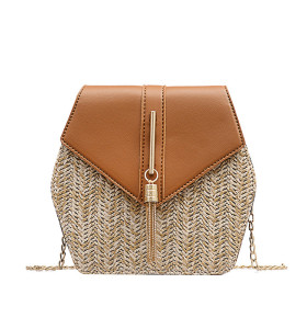 Fashion PU handbag straw summer beach bags for ladies