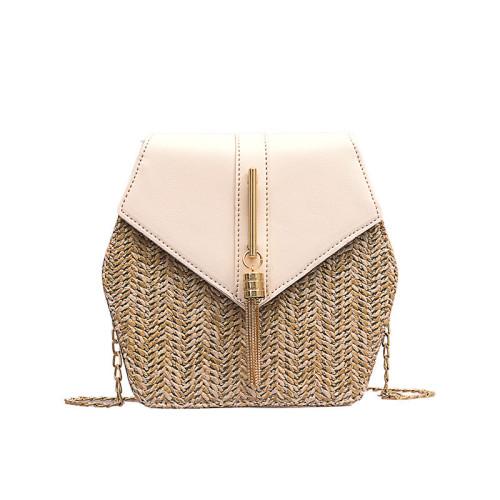 Fashion PU handbag straw summer beach bags for ladies