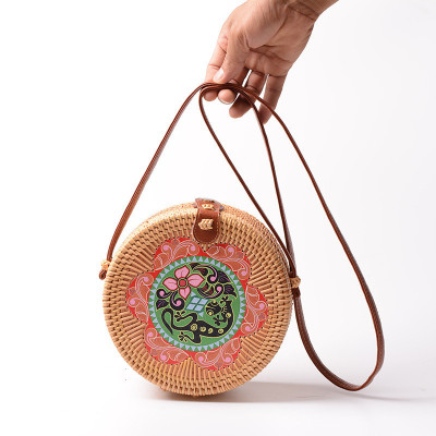 Bali new print handmade summer beach rattan bag