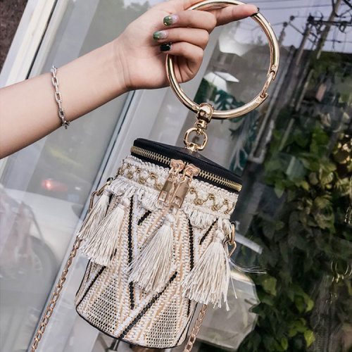 Wholesale vintage lady straw clutch bags colorful cylindrical lady fashion bags  crossbody bag