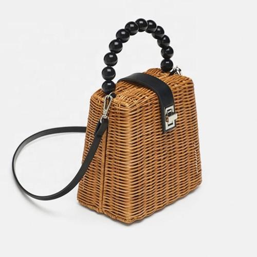 Small box beaded straw bags woven handmade shoulder rattan bag handle