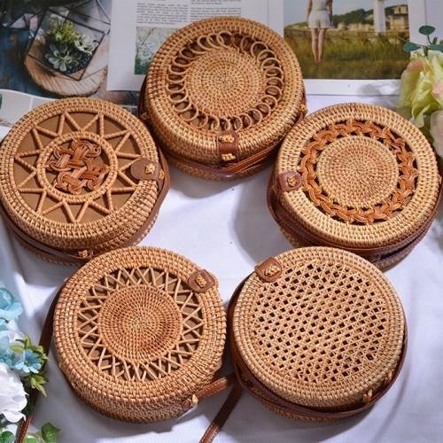 Summer sea rattan beach bag Bali natural round rattan bag