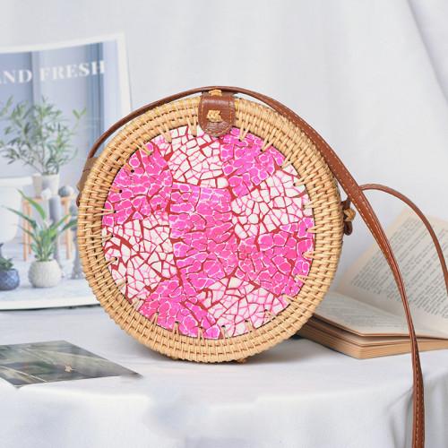 Indonesia round sling straw bag rattan handbags for women