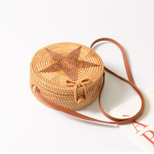 Bali beach rattan bags handmade natural round rattan bag