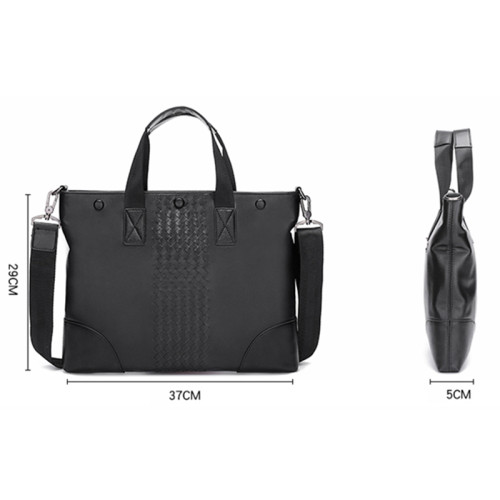 Wholesale Men Weave Briefcase New Style Fashion Business Genuine Leather Briefcase For Men