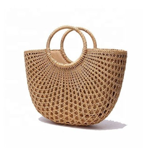 Handmade Vintage tote bag Natural Bali Straw Beach Bag for Women