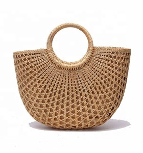 Handmade Vintage tote bag Natural Bali Straw Beach Bag for Women
