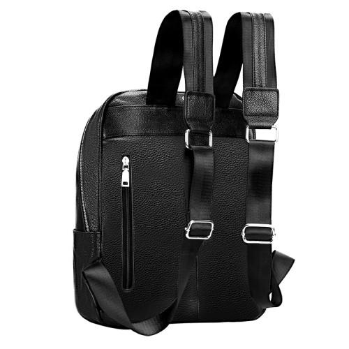New arrival genuine leather black leisure men laptop genuine leather backpack school backpack