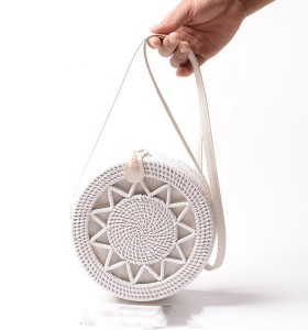 Ins hot sales women rattan bags handmade vintage round rattan bag