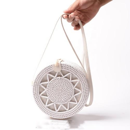 Ins hot sales women rattan bags handmade vintage round rattan bag