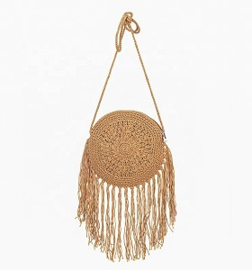 Crochet wholesale bali straw purse cluth handbags round straw bag