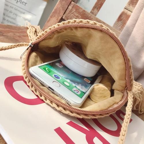 Crochet wholesale bali straw purse cluth handbags round straw bag