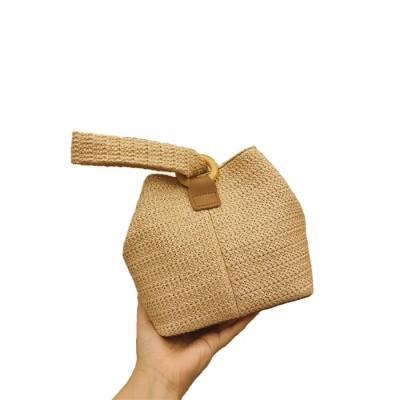 Ins fashion pom pom grass straw bags women crochet hand bag for straw