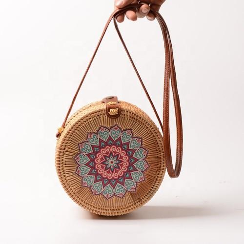INS hot sale flower print woven shoulder bag rattan bags handmade