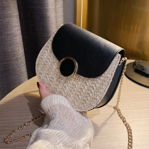 New fashion lady handbag with PU bags  and chain small straw crossbody bags