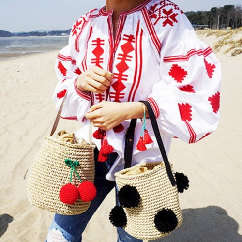 Wholesale women shoulder bags handmade handbag crochet bucket bag