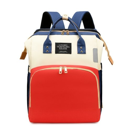 Customized logo colorful mommy backpack baby diaper bag with bed