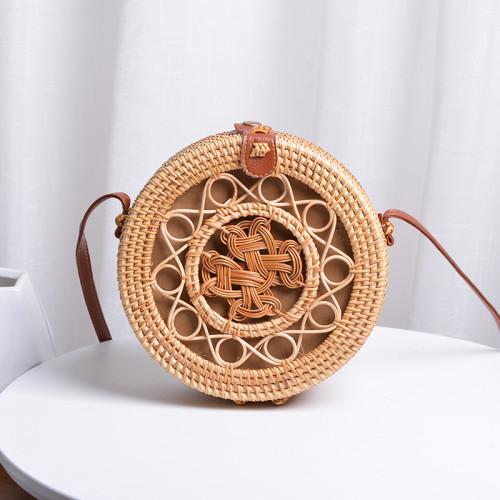 New design custom beach rattan bag wholesale straw rattan bag