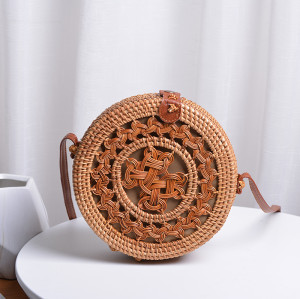 New design custom beach rattan bag wholesale straw rattan bag