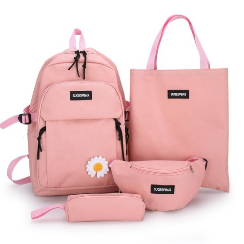Plaid Canvas Fabric Lightweight Durable Girls Teenage  School BackPack 4 Pieces School Backpack Set