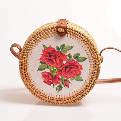 New printed flower 100% handmade lady rattan bags