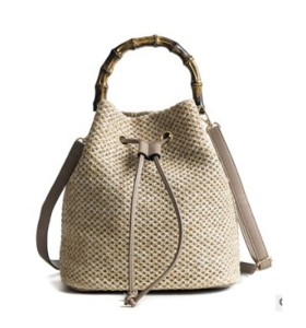 Ins summer fashion women straw leather tote bag crossbody bag handmade