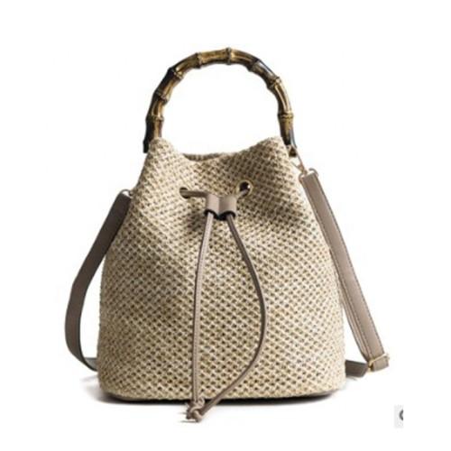 Ins summer fashion women straw leather tote bag crossbody bag handmade