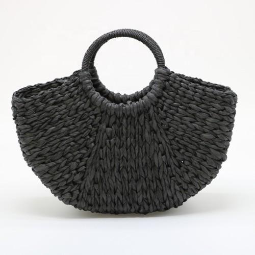 2021 summer woven paper straw beach bags handmade lady crochet handbag