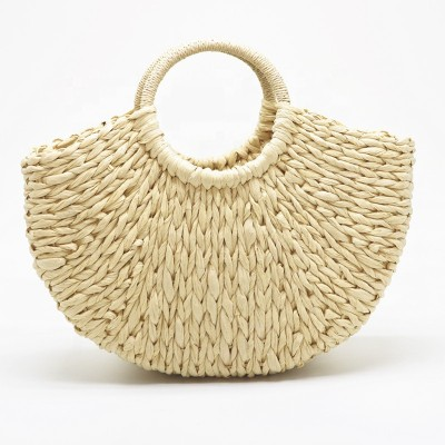 2021 summer woven paper straw beach bags handmade lady crochet handbag
