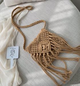 Women woven hand knitted bag hollow handmade crochet tote handbag