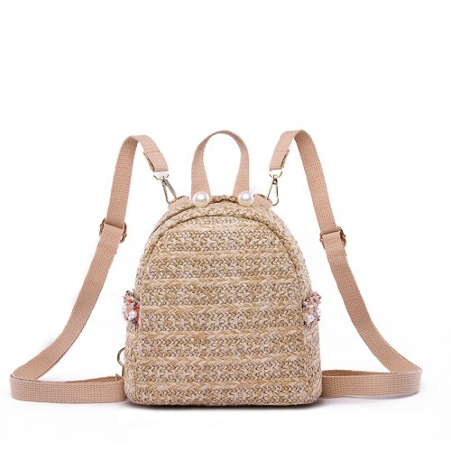 Women ladies small summer hand crochet straw woven beach backpack