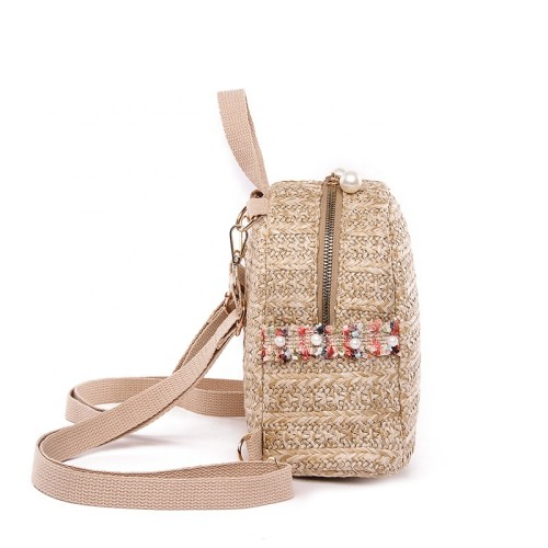 Women ladies small summer hand crochet straw woven beach backpack