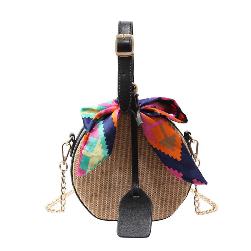 Handwoven Round Straw Bag Crossbody shoulder bag Summer Beach Bags