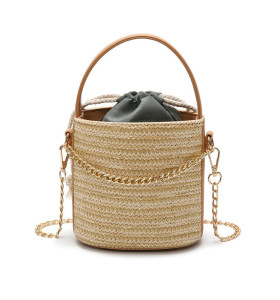 2021 Popular portable bucket beach handbag straw crossbody bags