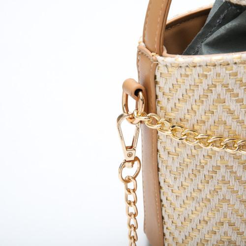 2021 Popular portable bucket beach handbag straw crossbody bags