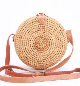 Custom Genuine leather strap summer rattan bali bags