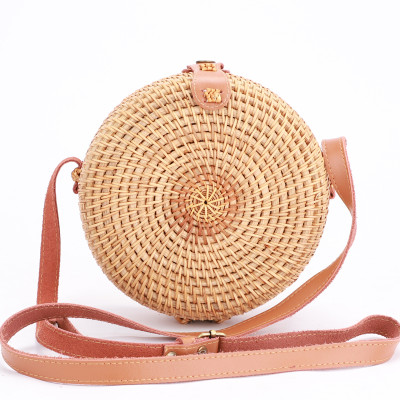 Custom Genuine leather strap summer rattan bali bag