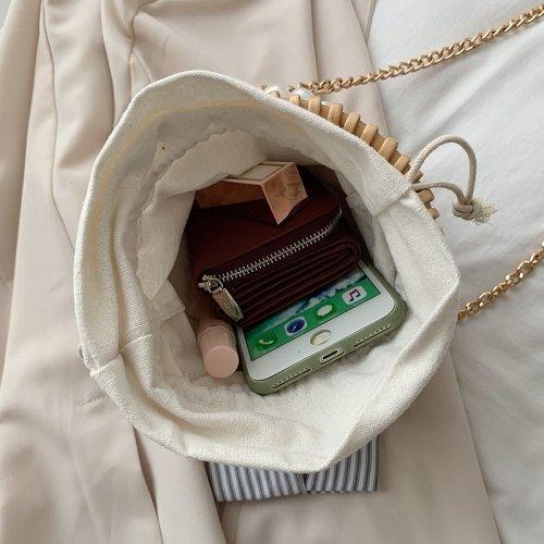 Factory Outlet Ladies Fiber rattan Basket Carry Bag Handles mini Wicker Case for Traveling
