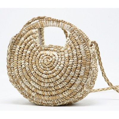 Wholesale hand woven bohemia beach circle bag fashion round rattan straw bags women handbags