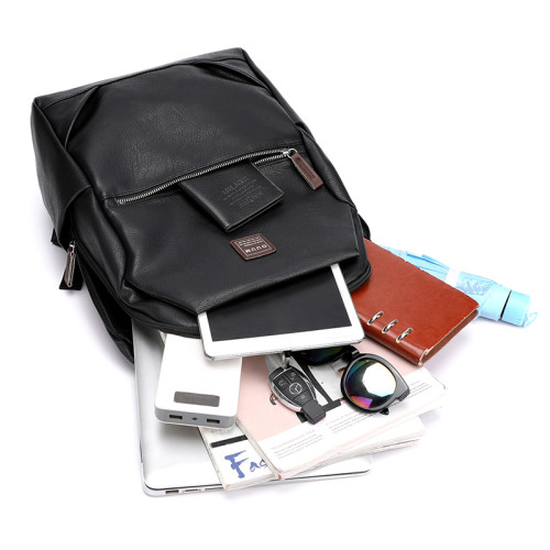 Wholesale Waterproof casual business men pu backpack school bag