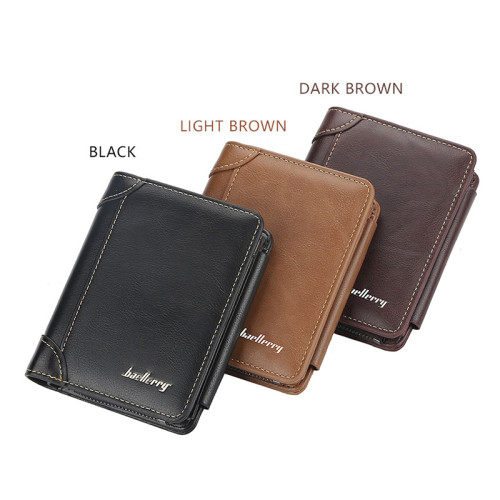 New Stylish Leather Men Wallet 3 Fold Zippered Men Wallet with Card Holder