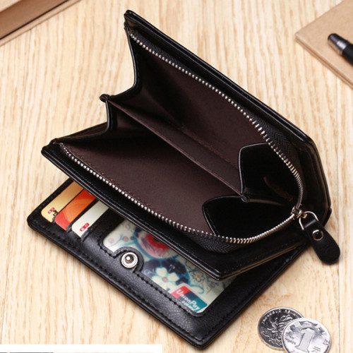 New Trend PU Leather Men's Short Wallet with 7 Card Slots Popular Money Clip Wallet