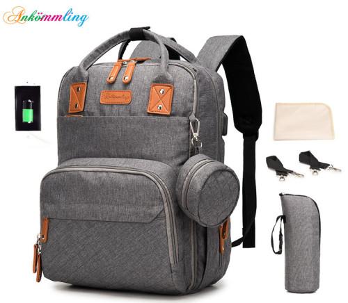 High Quality Multi-function USB Large Capacity Diaper Mom Bag Dacron  Nylon bags